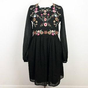 ZARA SZ Small Black Floral Boho Dress